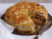 filo pie of rice with butternut squash, leeks and spinach